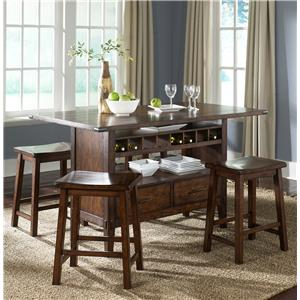 Center Island Pub Table with 4 Sawhorse Barstools
