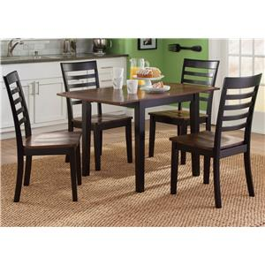 5 Piece Drop Leaf Table and Slat Back Chair Set