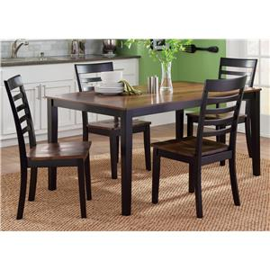 5 Piece Rectangular Table and Slat Back Chair Set