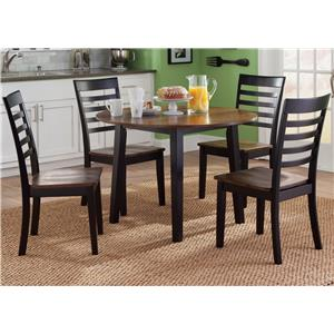 5 Piece Round Table and Slat/Ladder Back Chair Set