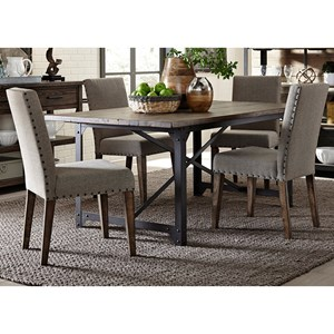 Industrial Table and Upholstered Chair Set