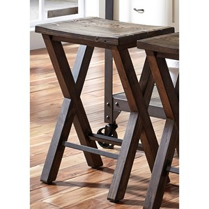 Industrial Counter Height Stool with Reclaimed Pine