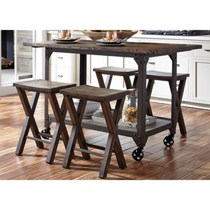 Industrial Kitchen Island and Counter Height Stool Set