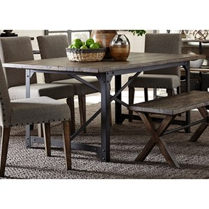 Industrial Trestle Dining Table with Reclaimed Pine Tabletop