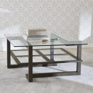 Contemporary Square Cocktail Table with Glass Top