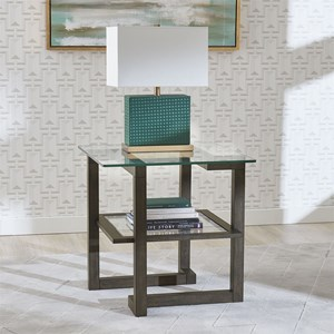 Contemporary Square End Table with Glass Top
