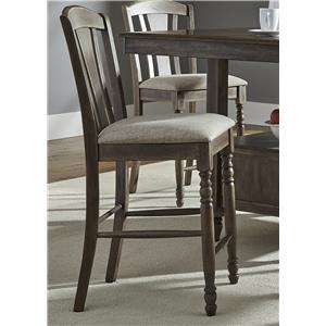 RTA Slat Back Barstool with Turned Front Legs