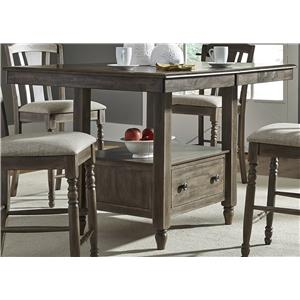Center Island Gathering Table with Built In Storage