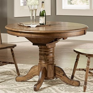 Transitional Oval Pedestal Dining Table with Table Leaf