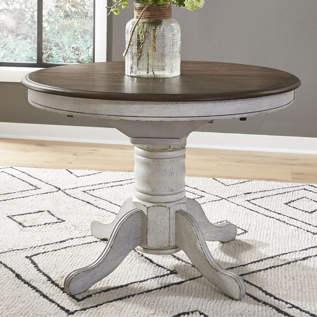 Carolina Crossing Oval Pedestal Dining Table by Libby at Walker's Furniture