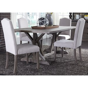 5 Piece Trestle Table Set with Tan Parson's Chairs