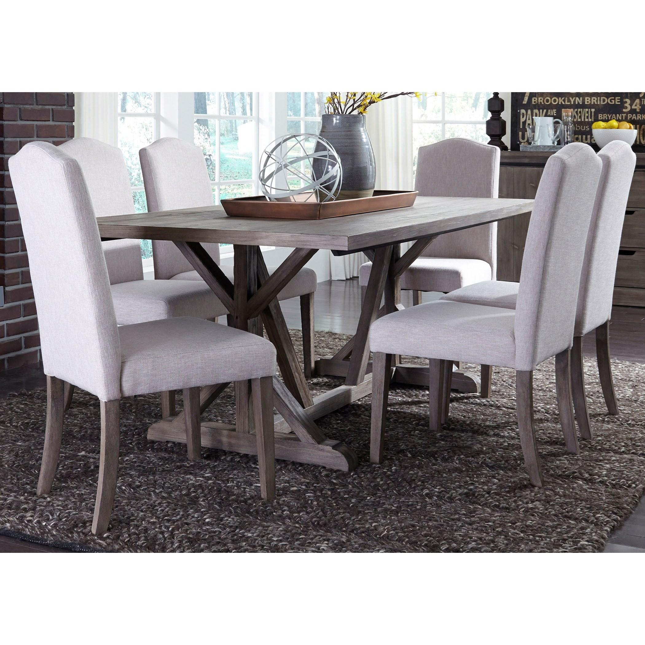 Carolina Lakes 7 Piece Trestle Table Set  by Freedom Furniture at Ruby Gordon Home