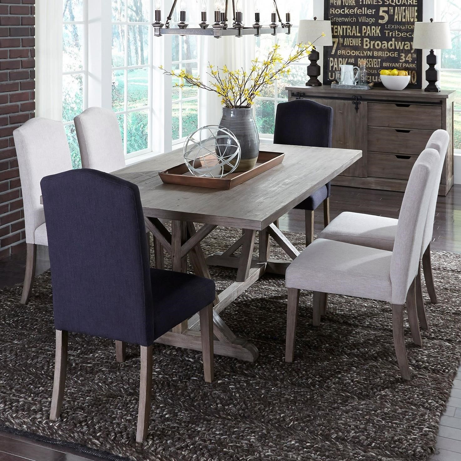 Carolina Lakes 7 Piece Trestle Table Set  by Liberty Furniture at Northeast Factory Direct