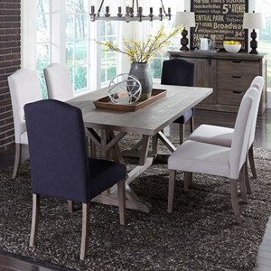 7 Piece Trestle Table Set with Parson's Chairs