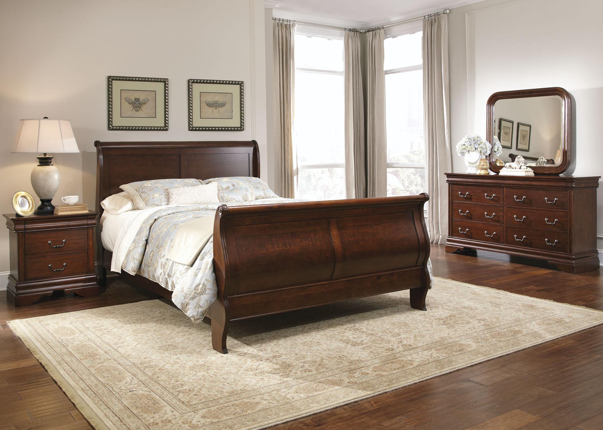 Queen Sleigh Bed, Dresser & Mirror, Chest,