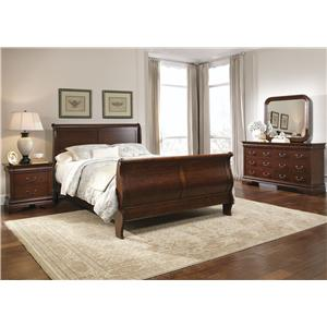 Queen Sleigh Bed, Dresser, Mirror, Chest, N/S