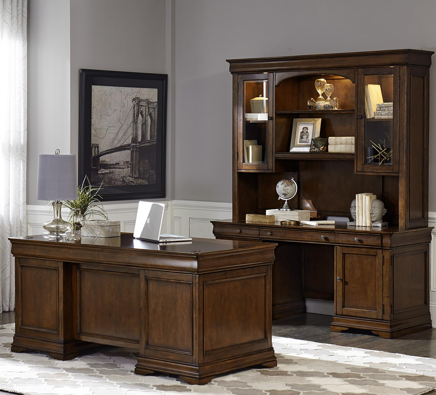 Chateau Valley 5 Piece Jr Executive Set by Libby at Walker's Furniture