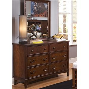 6 Drawer Double Dresser & Mirror Combination