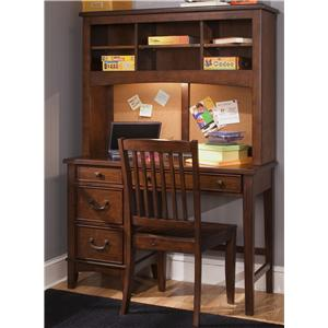 Single Pedestal Student Desk with Hutch