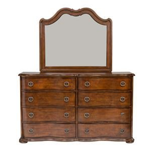 Transitional 8 Drawer Dresser and Landscape Mirror