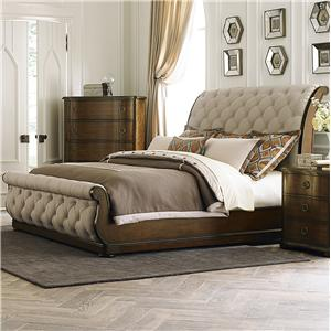 Transitional Upholstered King Sleigh Bed