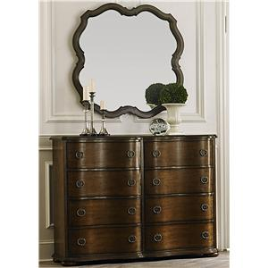 Transitional 8 Drawer Bureau and Wall Mirror