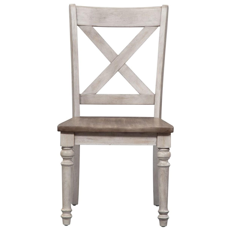 Cottage Lane X Back Wood Seat Side Chair (RTA) by Liberty Furniture at Stoney Creek Furniture