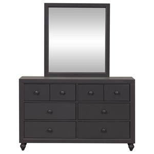Cottage Style Dresser and Mirror Set with Bun Feet