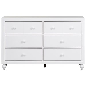 Cottage Style 6 Drawer Dresser with Bun Feet