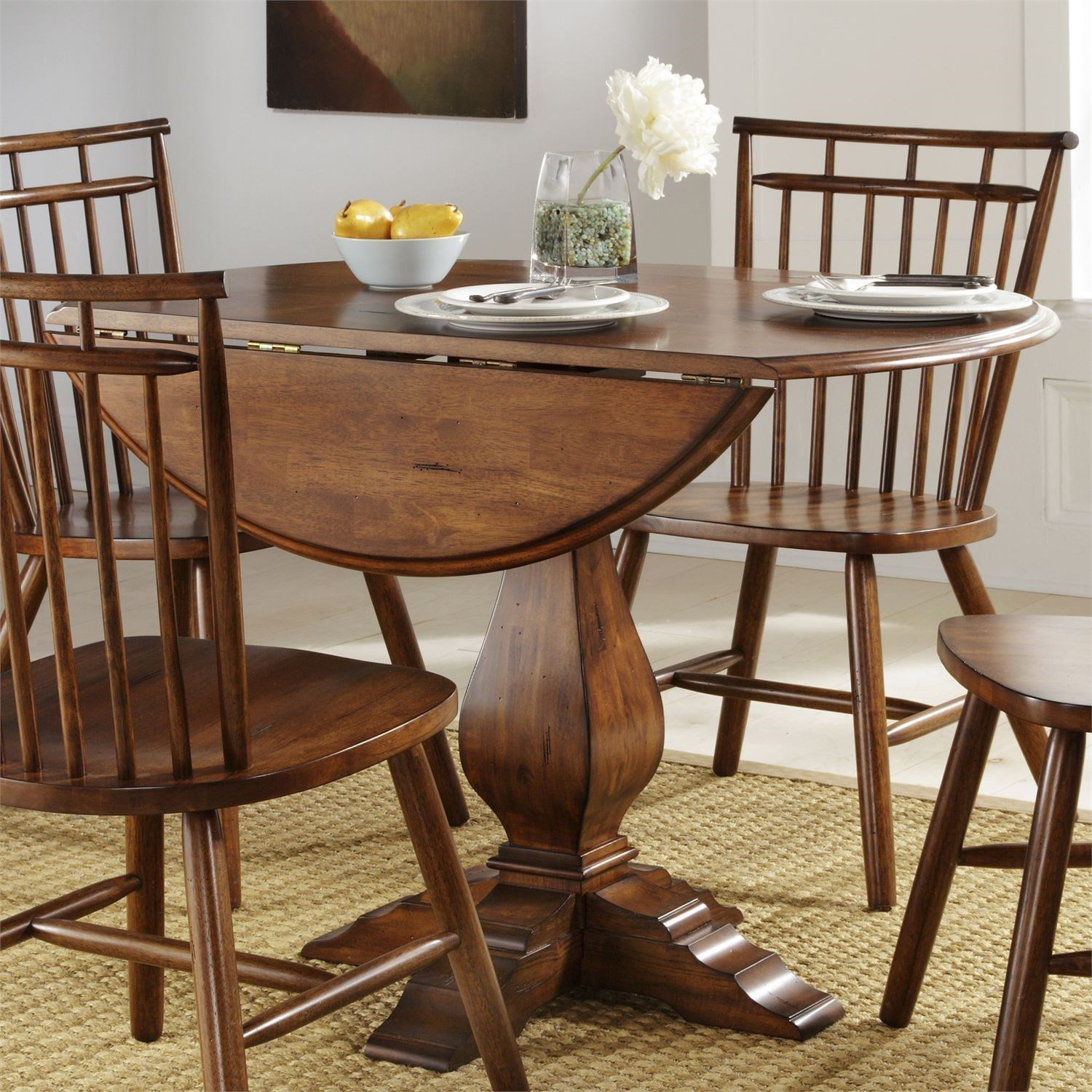 Creations II Drop Leaf Pedestal Table by Liberty Furniture at Northeast Factory Direct