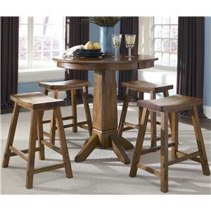 5 Piece Round Pub Table with Single Pedestal and Bar Stools