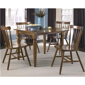 5 Piece Dinette Table with Drop Down Leaves and Spindle Back Chairs