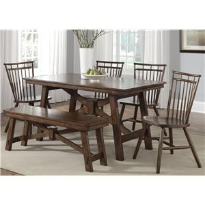 6 Piece Table Set with Spindle Chairs and Bench