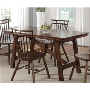 5PC Trestle Dining Table & Chair Set