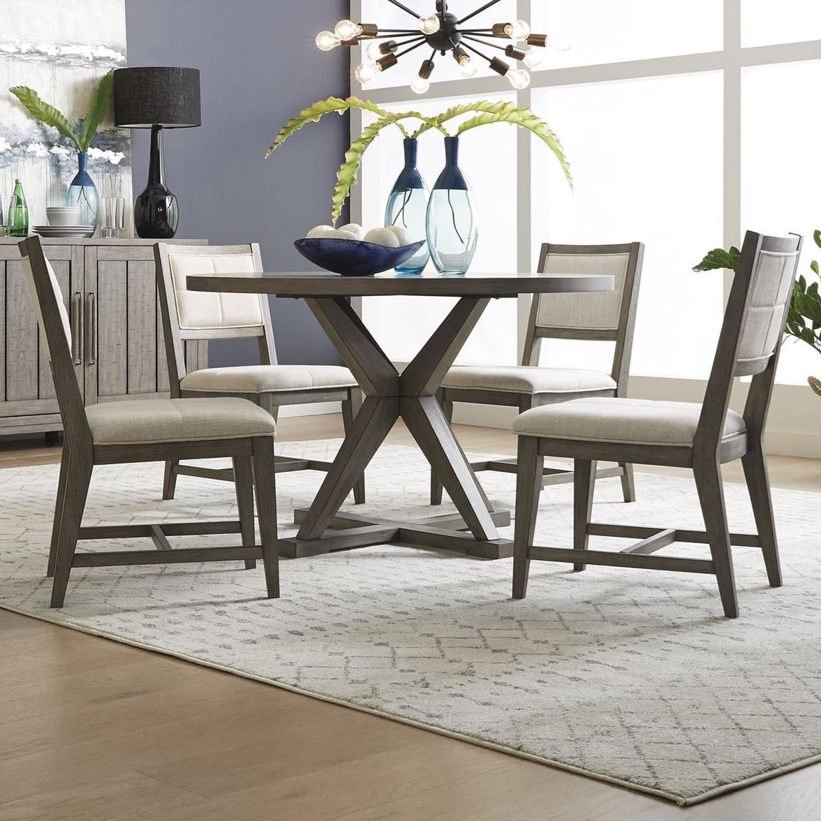 Crescent Creek 5-Piece Pedestal Table Set by Libby at Walker's Furniture
