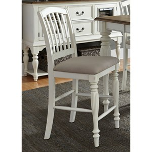 Slat Back Counter Chair with Upholstered Seat