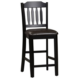 Slat Back Counter Chair 2 Pack with Upholstered Seat