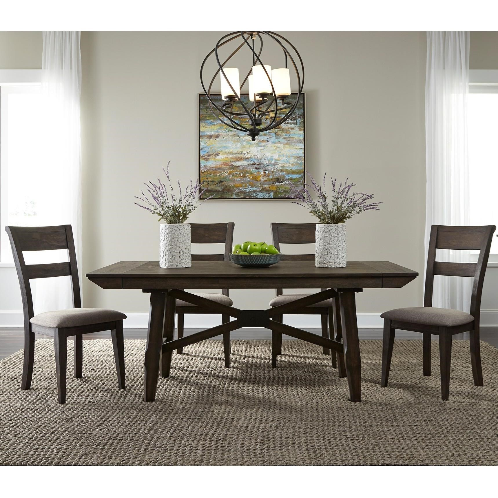 Double Bridge 5 Piece Trestle Table Set  by Libby at Walker's Furniture