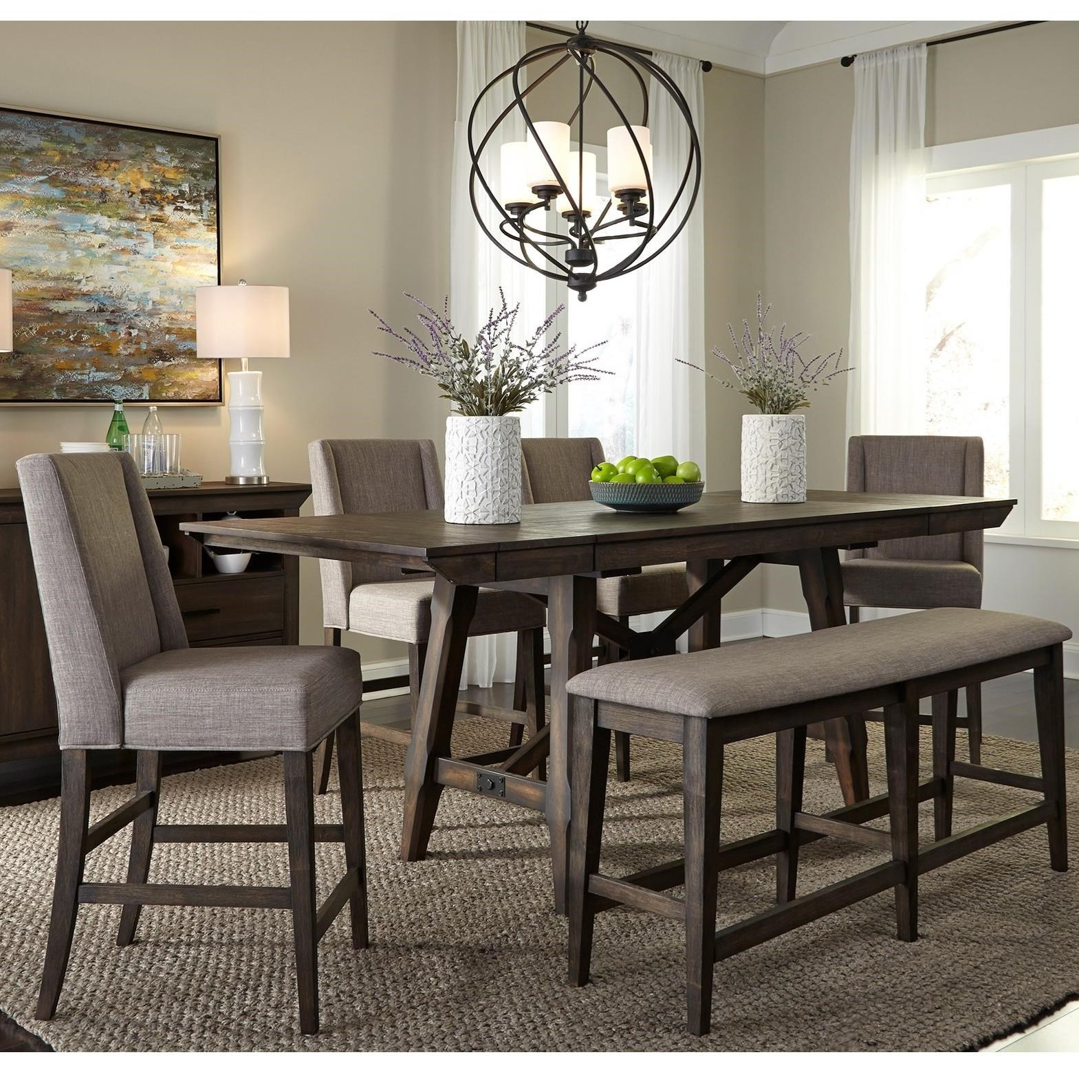 Double Bridge 6 Piece Gathering Table Set by Libby at Walker's Furniture