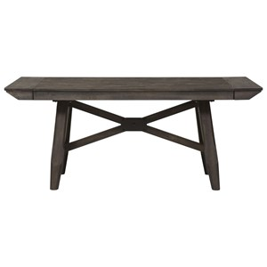 "Contemporary Trestle Table with Two 12"" Leaves"