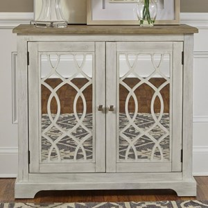Relaxed Vintage 2 Door Mirrored Accent Cabinet with Adjustable Interior Shelf