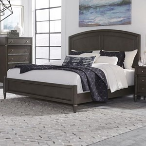 Transitional King Panel Bed with Arched Headboard