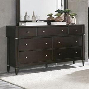 Transitional 7-Drawer Dresser with Metal Hardware