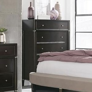 Transitional 5-Drawer Chest with Metal Hardware