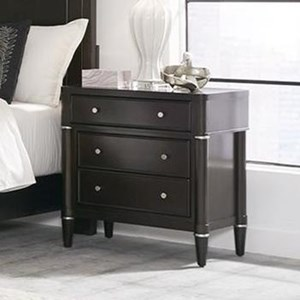 Transitional 3-Drawer Nightstand with Metal Hardware