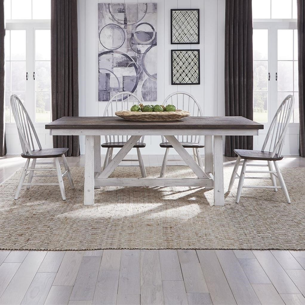 Farmhouse 5-Piece Trestle Table Set by Libby at Walker's Furniture