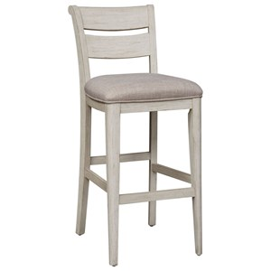 Relaxed Vintage Ladder Back Upholstered Bar Stool