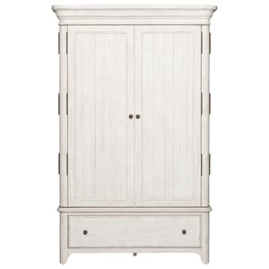 Relaxed Vintage Armoire with Fully Stained Interior Drawers