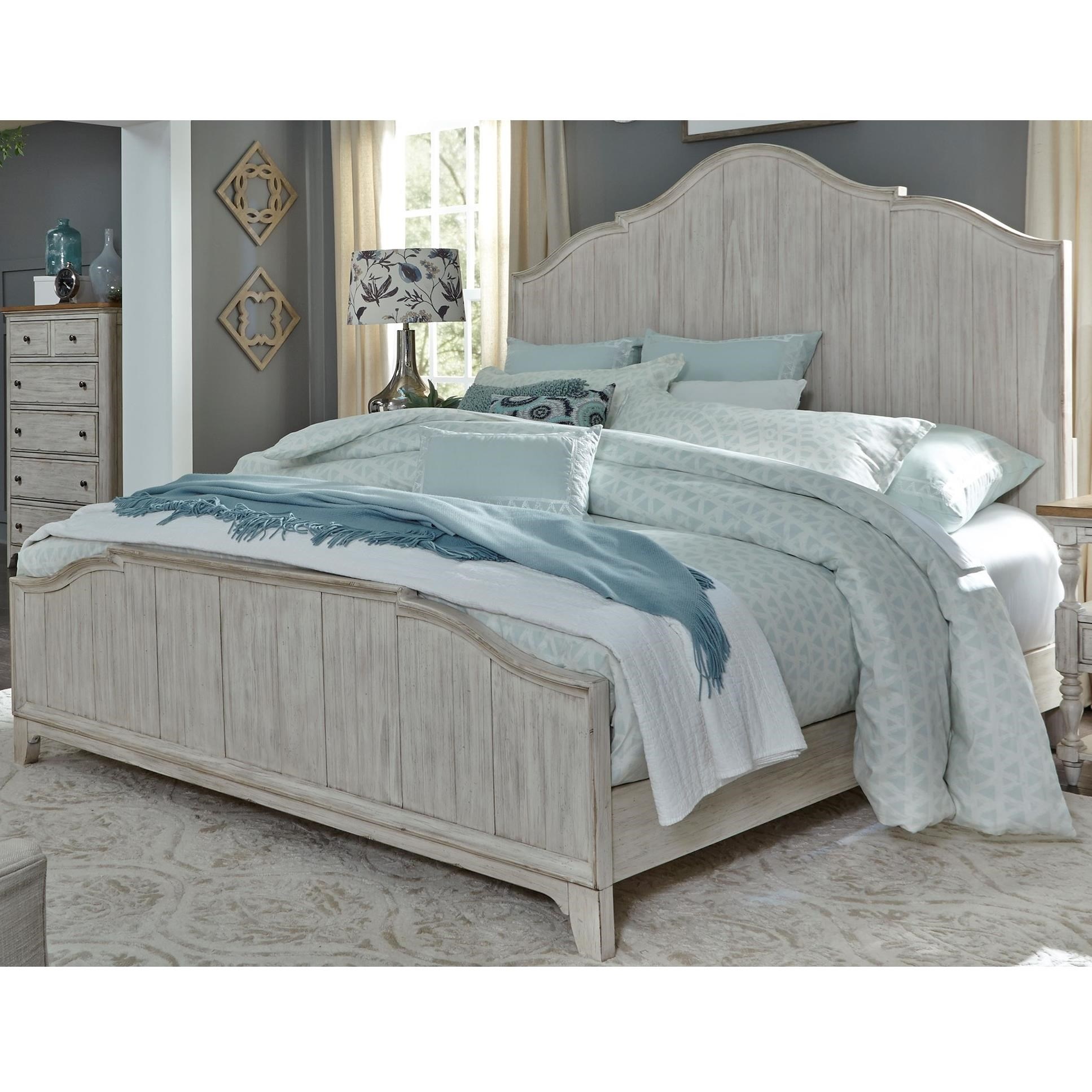 Farmhouse Reimagined Queen Panel Bed  by Libby at Walker's Furniture