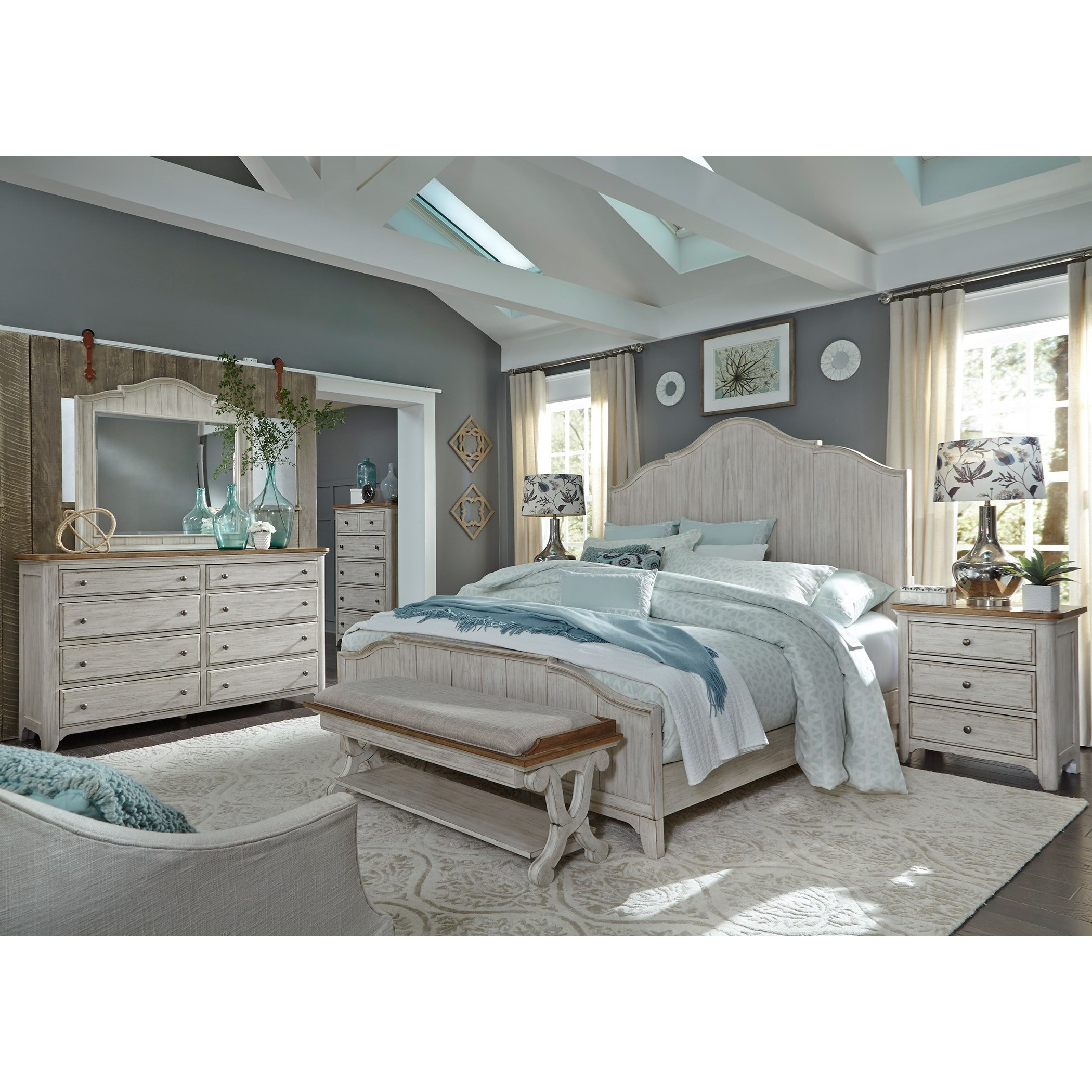 Farmhouse Reimagined Queen Bedroom Group by Libby at Walker's Furniture